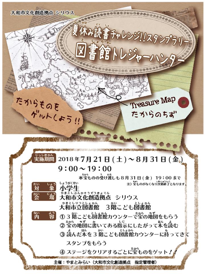 夏休み読書チャレンジ!!スタンプラリー図書館トレジャーハンター